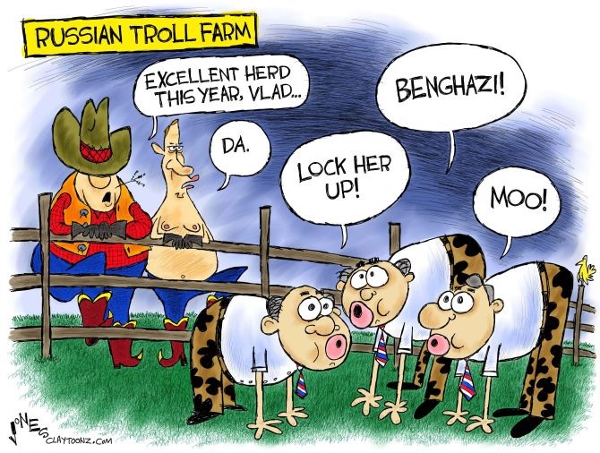 "A political cartoon depicting a farmer looking at his cattle, which are actually men dressed up as cattle. The ""cattle"" are saying things such as, ""moo"" and ""lock her up"" and ""benghazi"" The cartoon is making a joke of how Russian trolls disguise themselves to infilrate American social media to mimic political conversation and amplify certain subjects that reflect poorly on then-candidate Hillary Clinton"