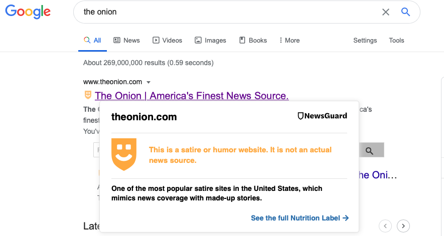 "A Google search for ""The Onion,"" showing the NewsGuard label of satire site"