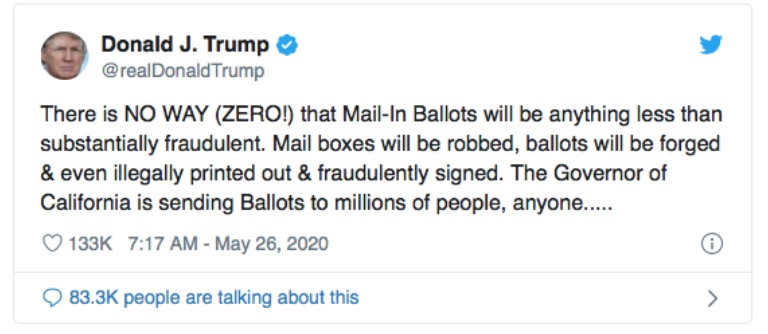 A screenshot of a tweet by Trump that says: there is no way (zero!) that Mail-in ballots will be anything lesss than substantially fradulent. Mail boxes will be robbed, ballots will be forged and even illegally printed out and fradulently signed. The governor of California is sending ballots to millions of people, anyone...