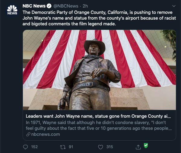 A Twitter post linking to an NBC News article shows the NewsGuard checkmark
